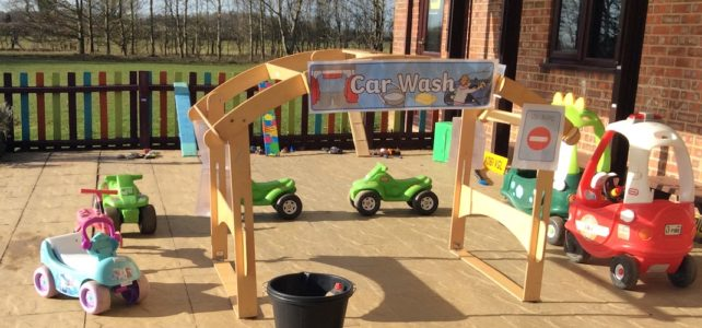 Pre-school activity outside car play
